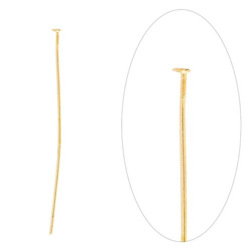 Gold Plated Iron Headpins 50mm (2 inch) Pk100