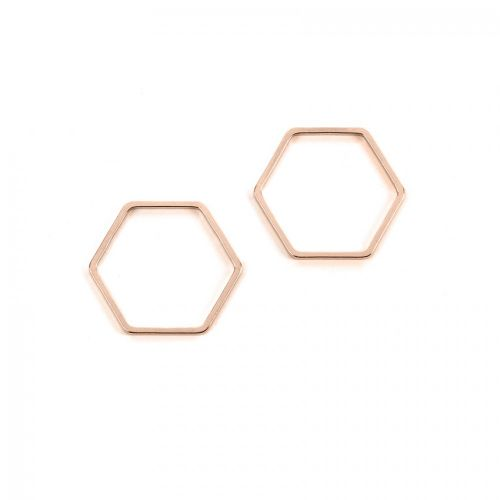 Rose Gold Plated Hexagon Soldered Ring 19x21mm Pk2