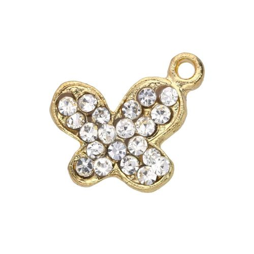 Glamm ™ Butterfly / charm pendant / with zircons / 14x16x3mm / gold plated / 1pcs