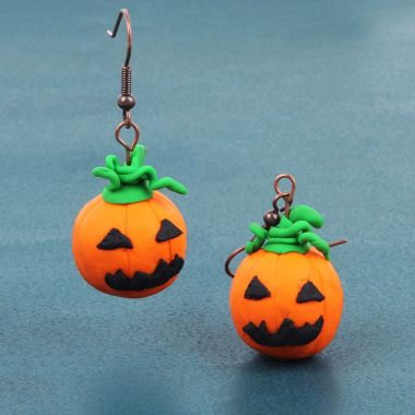 FIMO Clay Pumpkin Earrings