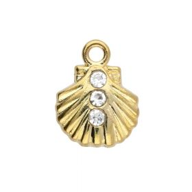 Glamm ™ Seashell / charm pendant / with zircons / 11x9x2.5mm / gold plated / 4pcs