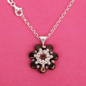Brown Amos Flower by Puca Necklace Kit Made with Swarovski - Makes x1