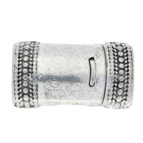 Magnetic clasp / curved with pattern / 26x15x10mm / antique silver / 10x7mm hole / 1pcs