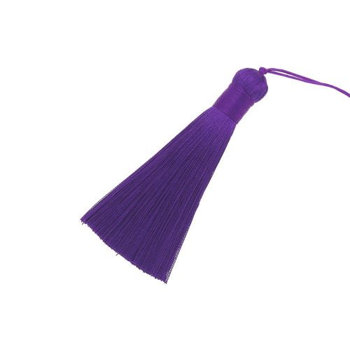 Tassel / viscose thread / with wide braid / 85mm / width 11mm / dark purple / 1pcs