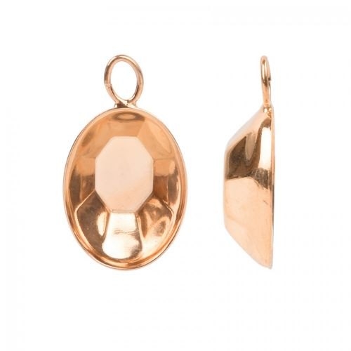 Rose Gold Plated Pendant Charm Setting Swarovski 4120 18x13mm