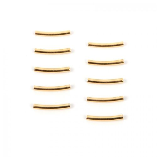 X Gold Plated Brass Curved Noodle Tube Bead 15x2mm (1.5mm inner) Pk10