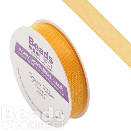 Yellow Gold Organza Ribbon 9mm Sold on a 5metre Reel