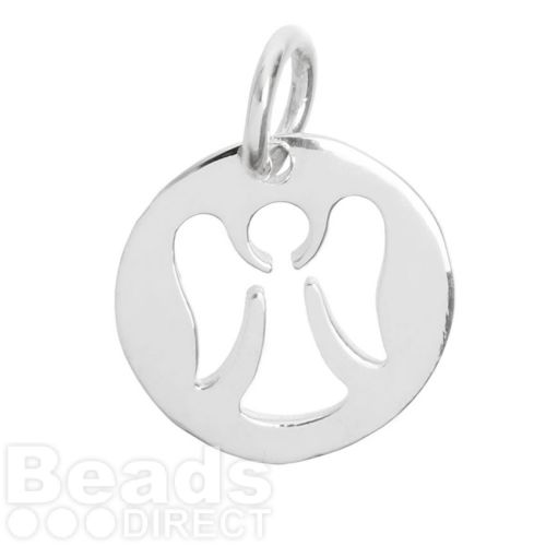 Sterling Silver 925 Cut Out Angel Coin Charm 12.5mm Pk1