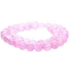 Jade transparent / round / 10mm / pink / 40pcs