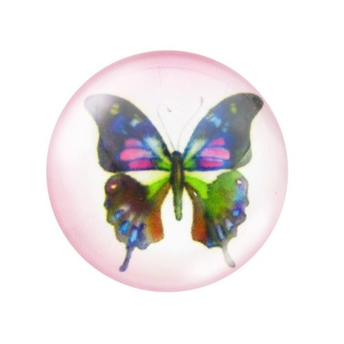 Glass cabochon with graphics 12mm PT1519 / pink / 4pcs