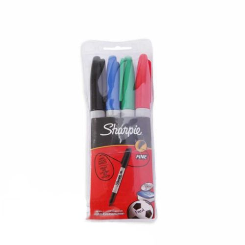 Sharpie Permanent Marker Fine Tip 1.0mm Pack 4 Assorted