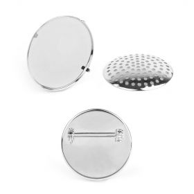 Silver Plated Large Sieve Disk and Brooch Base 32mm Pk1