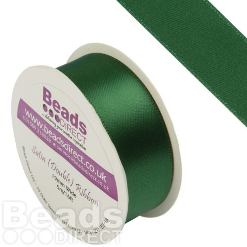 Green Double Satin Ribbon 19mm Sold on a 5 Metre Reel