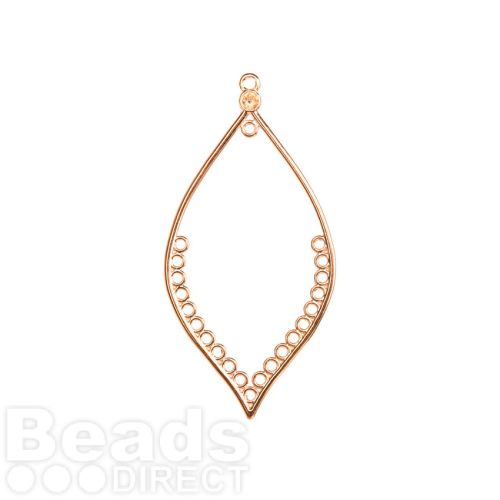 Rose Gold Plated Zamak Medium Hollow Leaf Dreamcatcher Charm With Loops 36x73mm Pk1