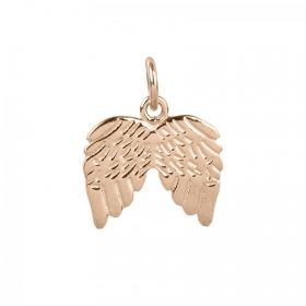 Rose Gold Plated Sterling Silver 925 Angel Wing Charm 12x15mm Pk1