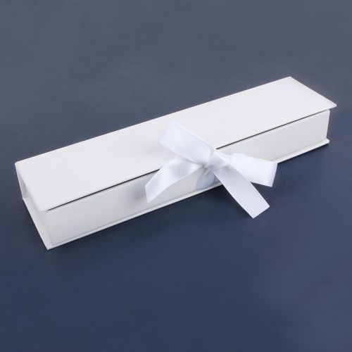 White Rectangle Large Premium Jewellery Gift Box With Ribbon Fasten 3x5 5x21 5cm Pk1