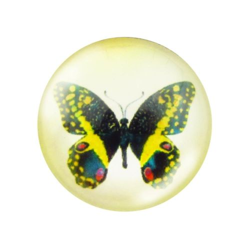 Glass cabochon with graphics 12mm PT1527 / black and yellow / 4pcs