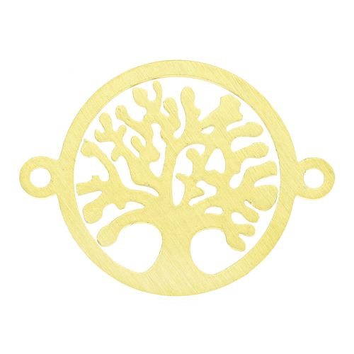 Tree / connector / surgical steel / 19x14x1mm / gold / 1pcs