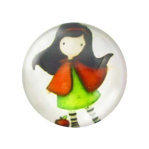 Glass cabochon with graphics 14mm PT1489 / green and white / 4pcs