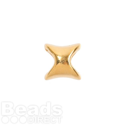 Gold Plated Zamak Irregular Tube Bead 4.5x9mm Hole is 5mm Pk1