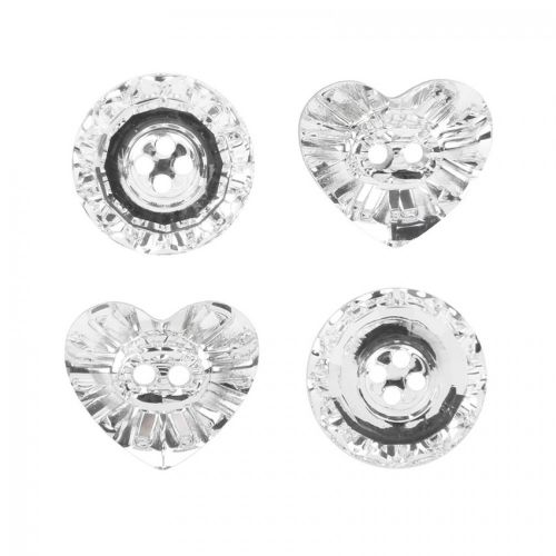X- Swarovski Crystal Button Mix Crystal Clear Pk4 (Heart 16mm x2 Round 14mm x2)