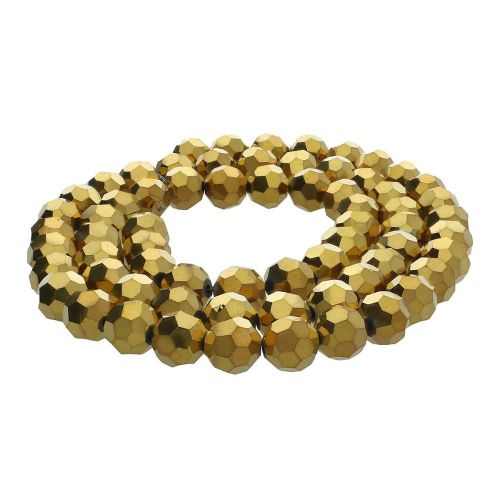CrystaLove™ crystals / glass / faceted round / 10mm / gold / lustered / 65pcs
