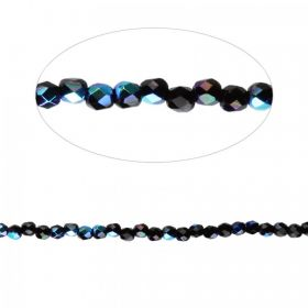 Jet AB Czech Glass Fire Polish Beads 2mm Pk100