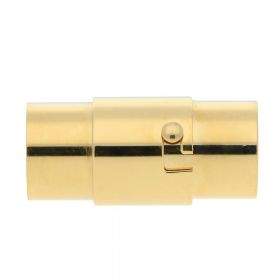 Magnetic clasp / surgical steel / round / 17x6x6mm / gold / hole 4mm / 1pcs