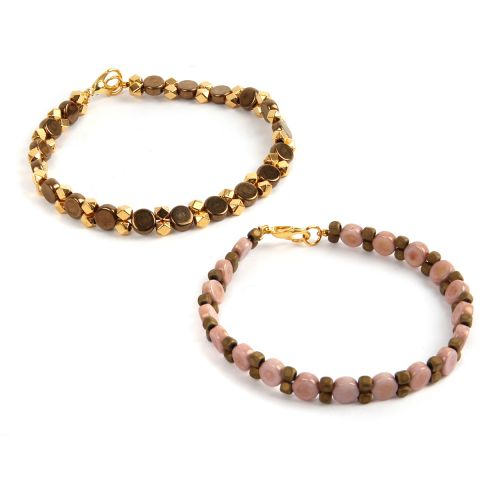 Pink & Gold Honeycombe Bracelets Kit