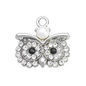 Glamm ™ Owl / pendant charms / with cubic zirconia / 18x18x5mm / silver plated / Crystal / 1pcs