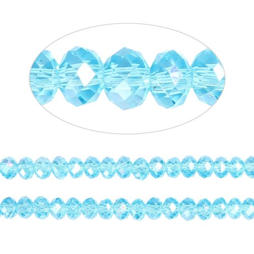 X- Essential Crystal Faceted 4mm Rondelle Turquoise AB 150pack
