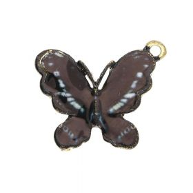 SweetCharm ™ Butterfly / charm pendant / 18x21x2.5mm  / gold plated / black / 2pcs