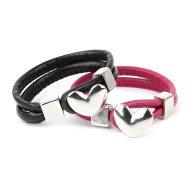 Heart Bar Leather Bracelets