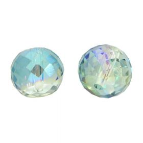 CrystaLove™ crystals / glass / faceted round / 6x8mm / green-blue / transparent / iridescent / 6pcs