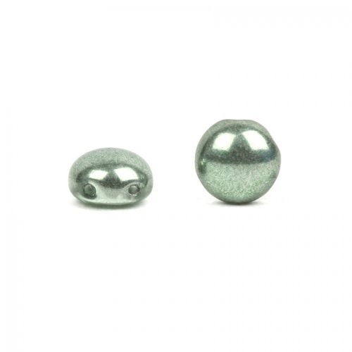 Preciosa Pressed Candy Twin Hole Beads Vintage Green 8mm Pk30