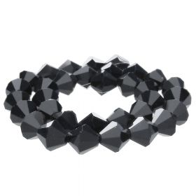 CrystaLove™ crystals / glass / bicone / 8mm / black / lustered / 40pcs