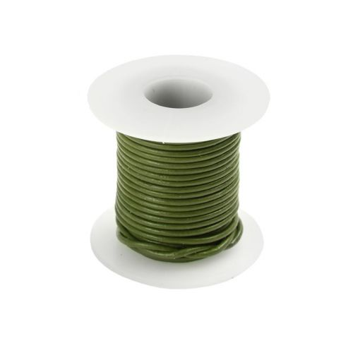 Green Round Leather Cord 1mm 5 Metre Reel