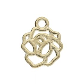 Flower / charm pendant / 11.5x9x1.5mm / gold plated / 4pcs