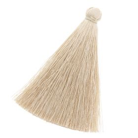 Tassel / viscose thread / 70mm / width 10mm / light beige / 1pcs