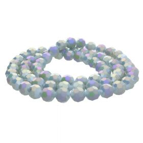 CrystaLove™ crystals / glass / faceted round / 8mm / grey / iridescent / 65pcs