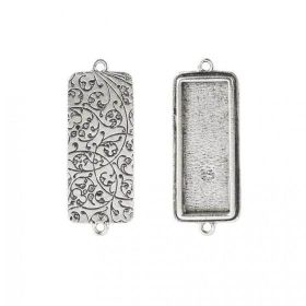 Nunn Design Antique Silver Connector Filigree Rectangle 15x38mm Pk1