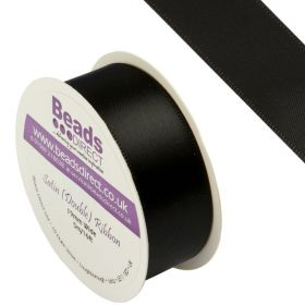 X-Black Double Satin Ribbon 19mm Sold on a 5 Metre Reel