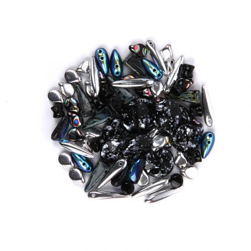 Preciosa Czech Glass Shape Mix Metallic Black Tones 20g