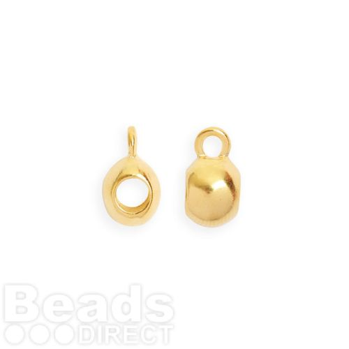 Gold Plated Smooth Charm Carrier 3mm with Loop Pk2