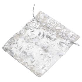 Organza bag / 10x12cm / beige with silver roses / 5pcs