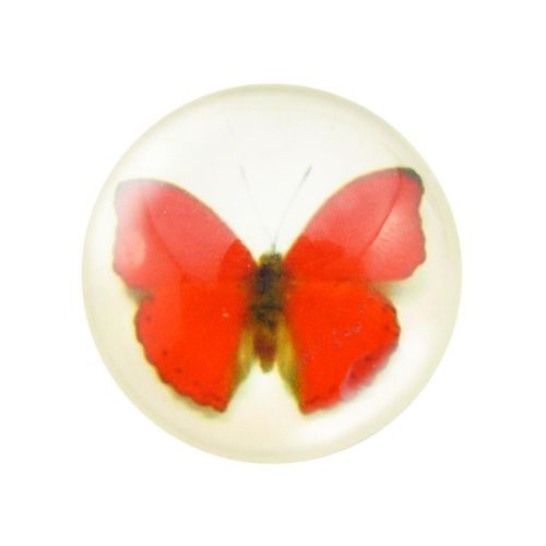 Glass cabochon with graphics 14mm PT1520 / red / 4pcs