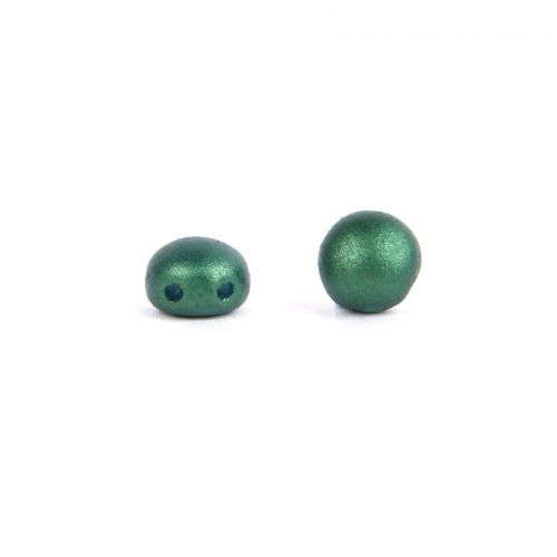 Preciosa Pressed Small Candy Twin Hole Bead Frosted Dark Green 6mm Pk30