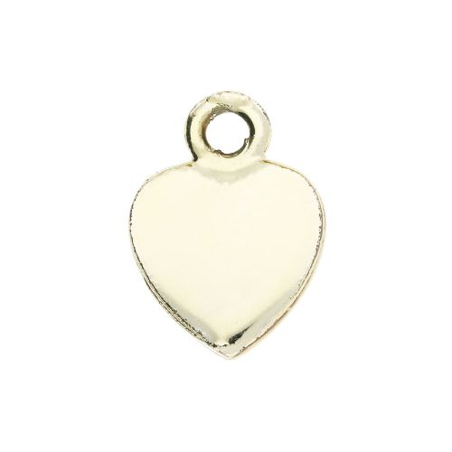 SweetCharm™ heart / pendant / 14x11x0.5mm / gold plated / pink / 2pcs