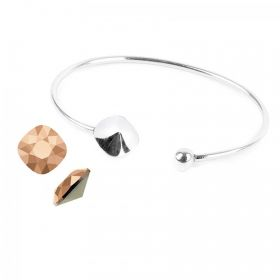 Sterling Silver 925 Square 4470 Bangle Kit w/Swarovski Crystal Rose Gold F Pk1