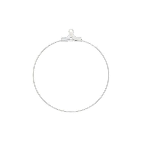 Circle / earring base / surgical steel / wire thickness 0.8mm / 39x36mm / silver / 2pcs